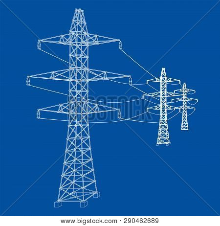 Electric Pylons Or Electric Towers Concept. Vector Rendering Of 3d. Wire-frame Style. The Layers Of