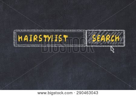 Chalk board sketch of search engine. Concept of searching for hairstylist poster