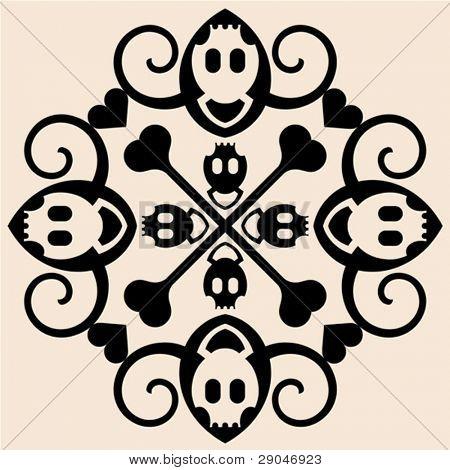 abstract skull and crossbones ornament