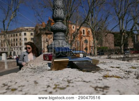 Rome, Italy - March 3 2019: Padlocks On Pons Fabricius Bridge, Love Locks Are A Symbol Of Love And C