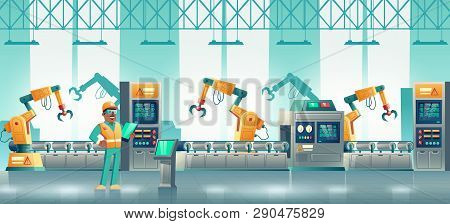 Computer Numerical Control Technologies On Modern Plant Production, Loading Line Cartoon Vector Conc