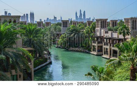 Dubai, Uae - Dec 9, 2018. View Of The Souk Madinat Jumeirah In Dubai, Uae. Souk Madinat Jumeirah Is