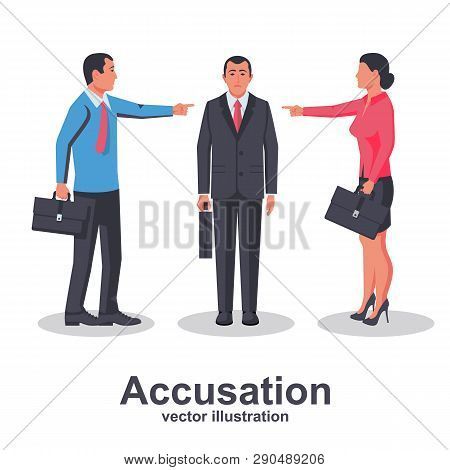 Accusation Concept. Team Of Employees Point Finger At Guilty Person. Man And Woman In Business Suits