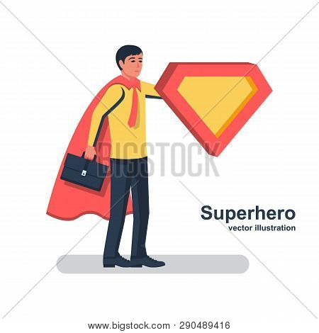 Businessman Superhero. Man Stands In A Red Raincoat With A Large Shield In Hands. Vector Illustratio