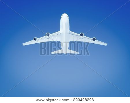 A big airplane in the blue sky background 3D illustration