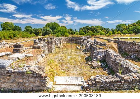 The Archaeological Park Of Dion, Located At Foot Of Mount Olympus, Greece, Europe.