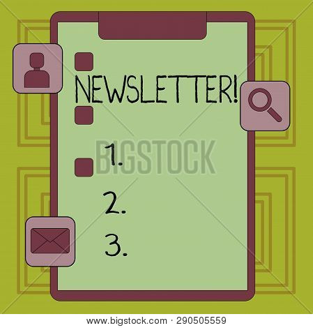 Conceptual Hand Writing Showing Newsletter. Business Photo Showcasing Bulletin Periodically Sent To