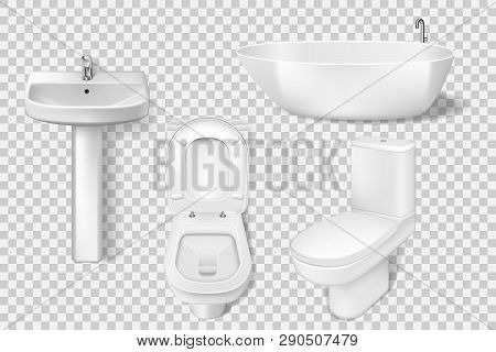 Realistic Bathroom Collection Template. White Clean Toilet, Bowl, Sink, Washroom Basin. Mockup Of To