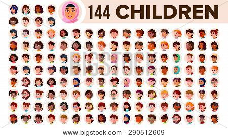 Children Avatar Set Vector. Child Girl, Guy. Multi Racial. Face Emotions. Multinational User People