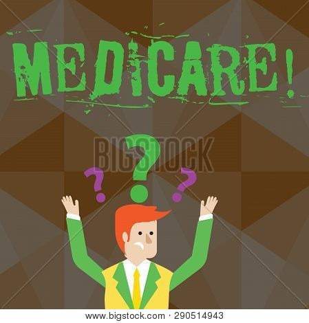 Handwriting text Medicare. Concept meaning Federal health insurance for showing above 65 or with disabilities Confused Businessman Raising Both Arms with Question Marks Above his Head. poster