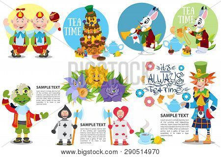 Cute Characters Set From Alice In Wonderland Story Vector Illustration. Included In This Set: Blue C