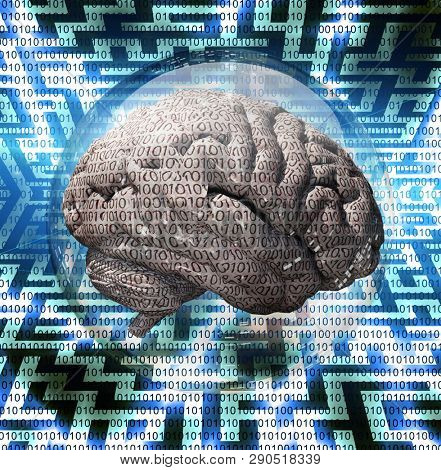 Human Brain with binary code contained inside glass sphere. Maze background. 3D rendering