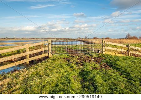 Gate In Front Of The Dutch Nature Reserve Zonzeelse Polder Near The Villages Of Hooge Zwaluwe And Wa