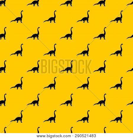 Brachiosaurus Dinosaur Pattern Seamless Vector Repeat Geometric Yellow For Any Design