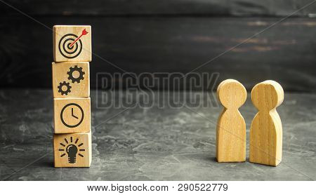 Two Businessmen Discuss Business Strategy. The Concept Of Developing Innovative Technologies. Action