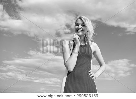 Girl Blonde Lady Smiling Enjoy Warm Sunlight Blue Sky With Clouds Background. Woman Red Dress Feels