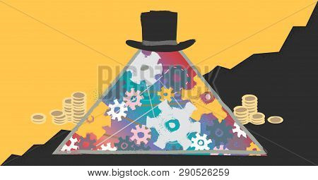 Capitalism Modern Concept Vector Illustration With Abstract Pyramid Business Hierarchy And Market Do