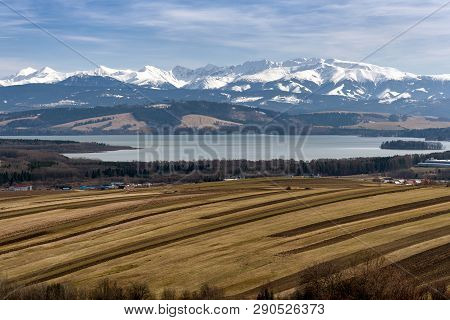 Reservoir Oravska Priehrada And High Tatras Mountains In Region Orava, Slovakia