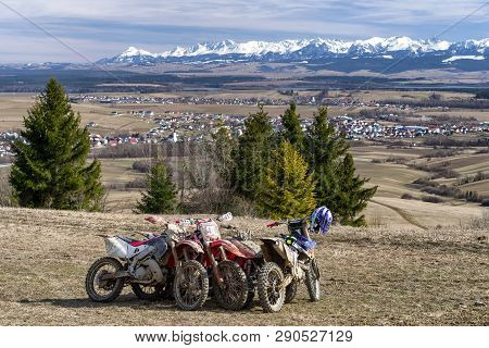 Klin, Slovakia - March 17: Parked Cross Motorbikes At Region Orava On March 17, 2019 In Klin