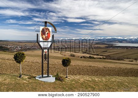 Klin, Slovakia - March 17: Calvary At Grapa Hill With High Tatras Mountains At Background On March 1