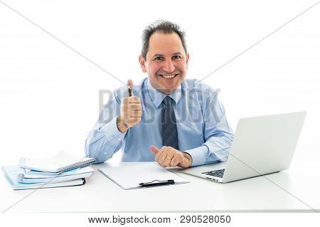 Attractive Happy Mature Caucasian Businessman Working On Laptop Computer Feeling Successful At Work
