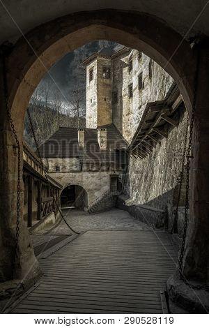 Drawbridge In Orava Castle In Vllage Oravsky Podzamok, Slovakia
