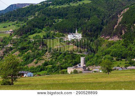 Summer Alpine Burgeis Marienberg - Castle Fuerstenburg And Abbey Of Monte Maria (kloster Marienberg)