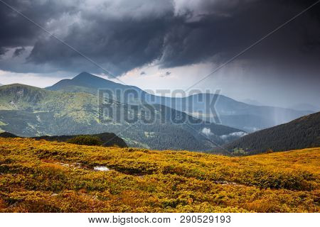 Unusual heaven before the storm. Location carpathian mountains national park, Ukraine, Europe. Forces of nature. Moody weather in countryside. Attractive summer scene. Discover the beauty of earth.