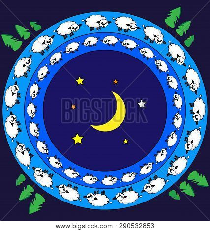 Colored Background Abstract Image Of Night And Lambs