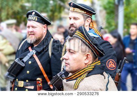 Samara, Russia - October 6, 2018: Unidentified Members Of Historical Reenactment Battle In Navy Unif