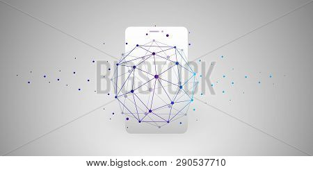 Global Networks Design With Network Mesh And Smartphone Silhouette - Vector Template For Your Busine