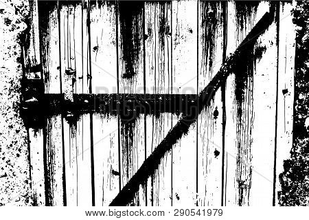 Vector Wood Texture. Abstract Background, Old Wooden Doors. Overlay Illustration Over Any Design To