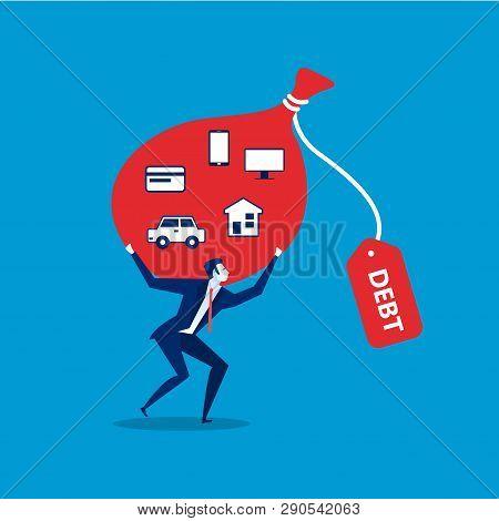 Debt Obligations Red  Concept Icon. Debt Obligations Flat Illustration.