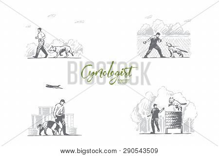 Cynologist - Special People Training Dogs Outdoors Vector Concept Set. Hand Drawn Sketch Isolated Il