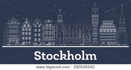 Outline Stockholm Sweden City Skyline with White Buildings. Business Travel and Tourism Concept with Historic Architecture. Stockholm Cityscape with Landmarks.