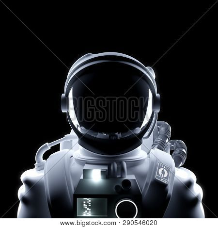 A Portrait Of A Futuristc Astronaut Spaceman In A Space Suit. 3d Illustration.