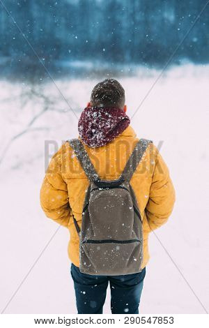 The Guy In The Yellow Jacket With A Backpack In The Winter, Hipster Guy