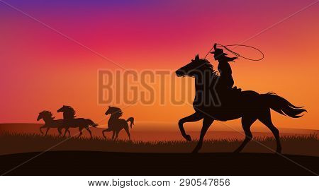 Beautiful Cowgirl Chasing A Herd Of Wild Mustang Horses At Sunset - Silhouette Lanscape Vector Desig