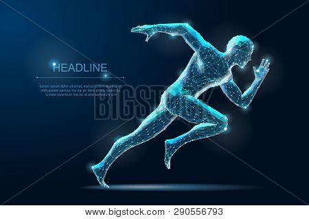 Geometric Running Man Plygonal 3d Wireframe. Speed Sport
