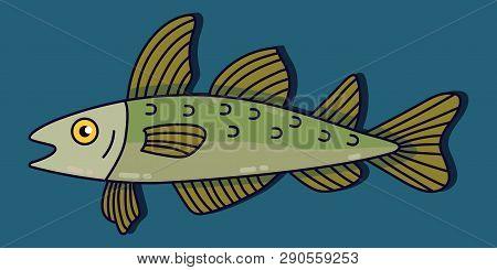 Codfish Colorful Cartoon Fish Vector Icon Illustration
