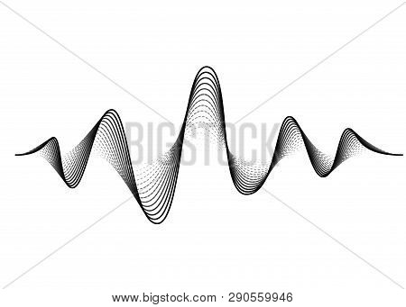 Sound Wave Vector Background. Audio Music Soundwave. Voice Frequency Form Illustration. Vibration Be