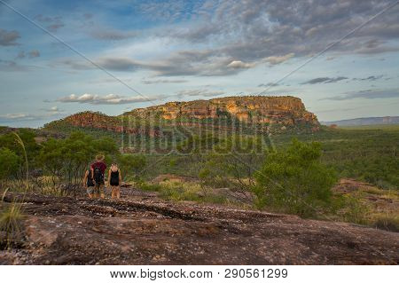 Tourists Walking Down From The Nadab Lookout In Ubirr, Kakadu National Park - Australia