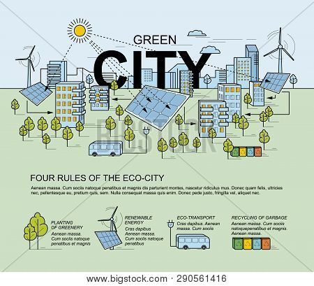 Green City, Smart City Concept. Modern Eco-friendly Technology. Panorama Of The City In The Style Of