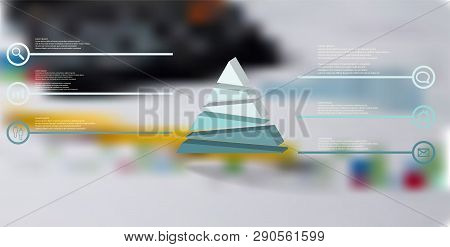 3d Illustration Infographic Template. The Embossed Triangle Is Randomly Divided To Six Color Parts.