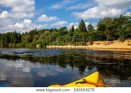 Kayak And Canoe Ride In River Gauja In Latvia. Boat Ride By The River. Beautiful View Of River From
