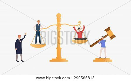 Law Court Process Illustration. People Standing On Scales, Federal Judge Watching On Them. Law Conce