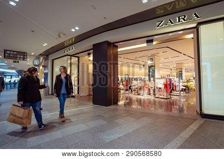 Reus, Spain. March 2019: Zara Fashion Store In La Fira Shopping Mall. Zara Is A Galician Fast Fashio