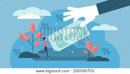 Universal Basic Income Vector Illustration. Flat Tiny Money Receiving Person Concept. Economical Gov