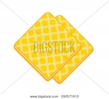Two Crispy Waffles. Flat Illustration Of Wafer Biscuit Slice Isolated On Layer. Vector Yellow Crispy