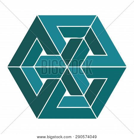 Impossible Or Undecidable Object Vector Illustration. Optical Illusion Figure Isolated.